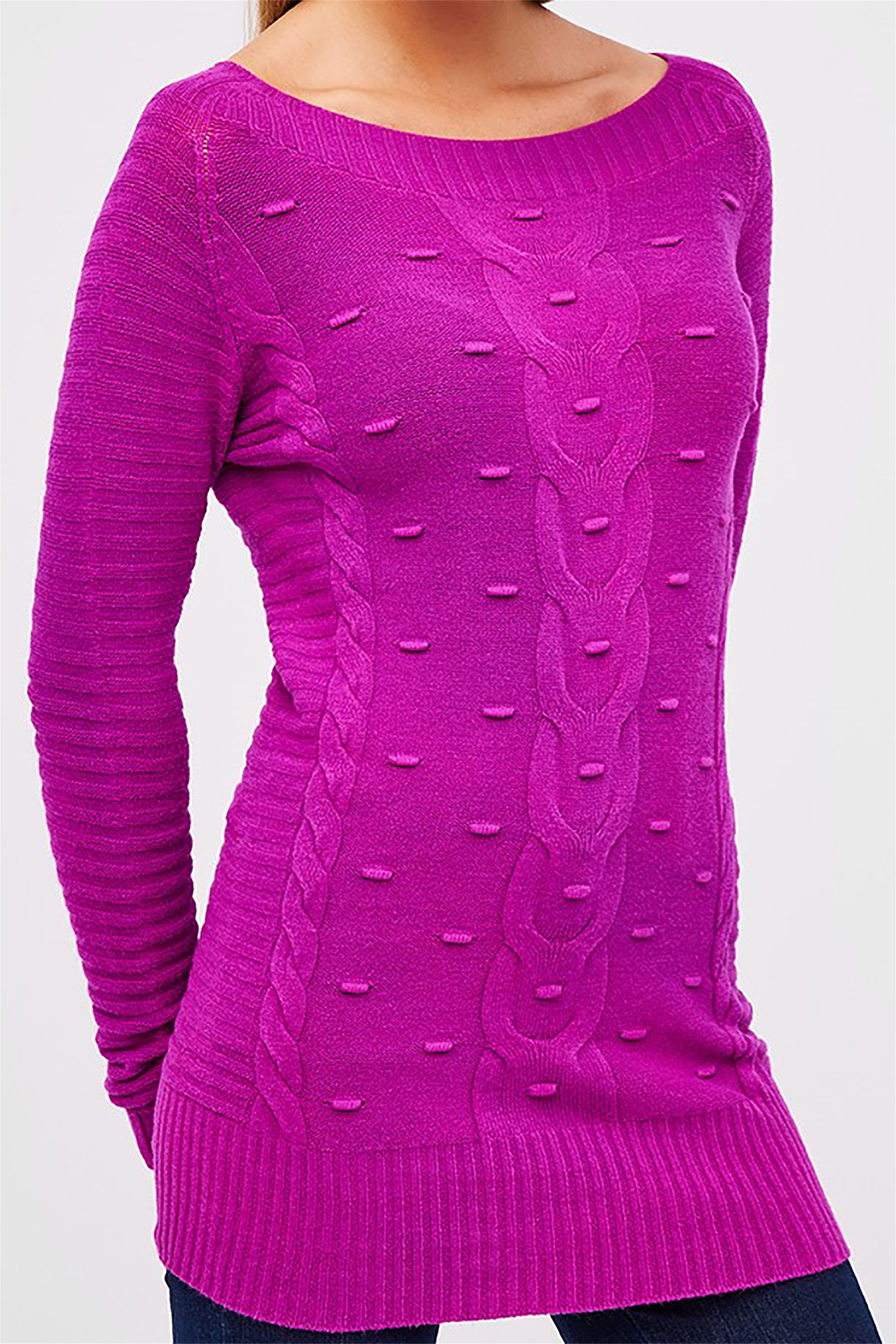 Forel γυναικεία μπλούζα πλεκτή ribbed με ανάγλυφο σχέδιο - 599006 - Μοβ