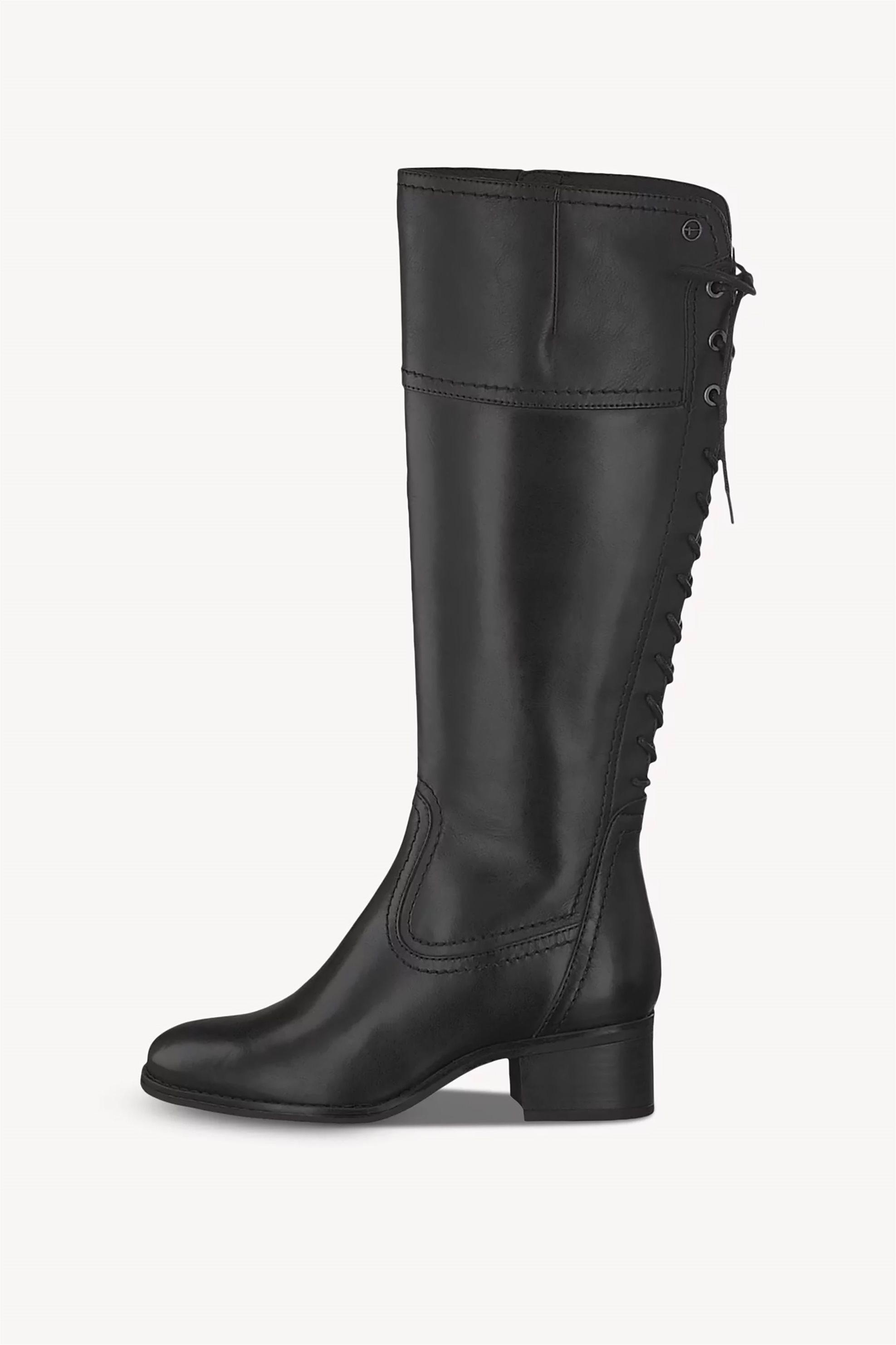 Tamaris γυναικείες μπότες με κορδόνια πίσω και κροκό τελείωμα – 1-1-25543-23 – Μαύρο