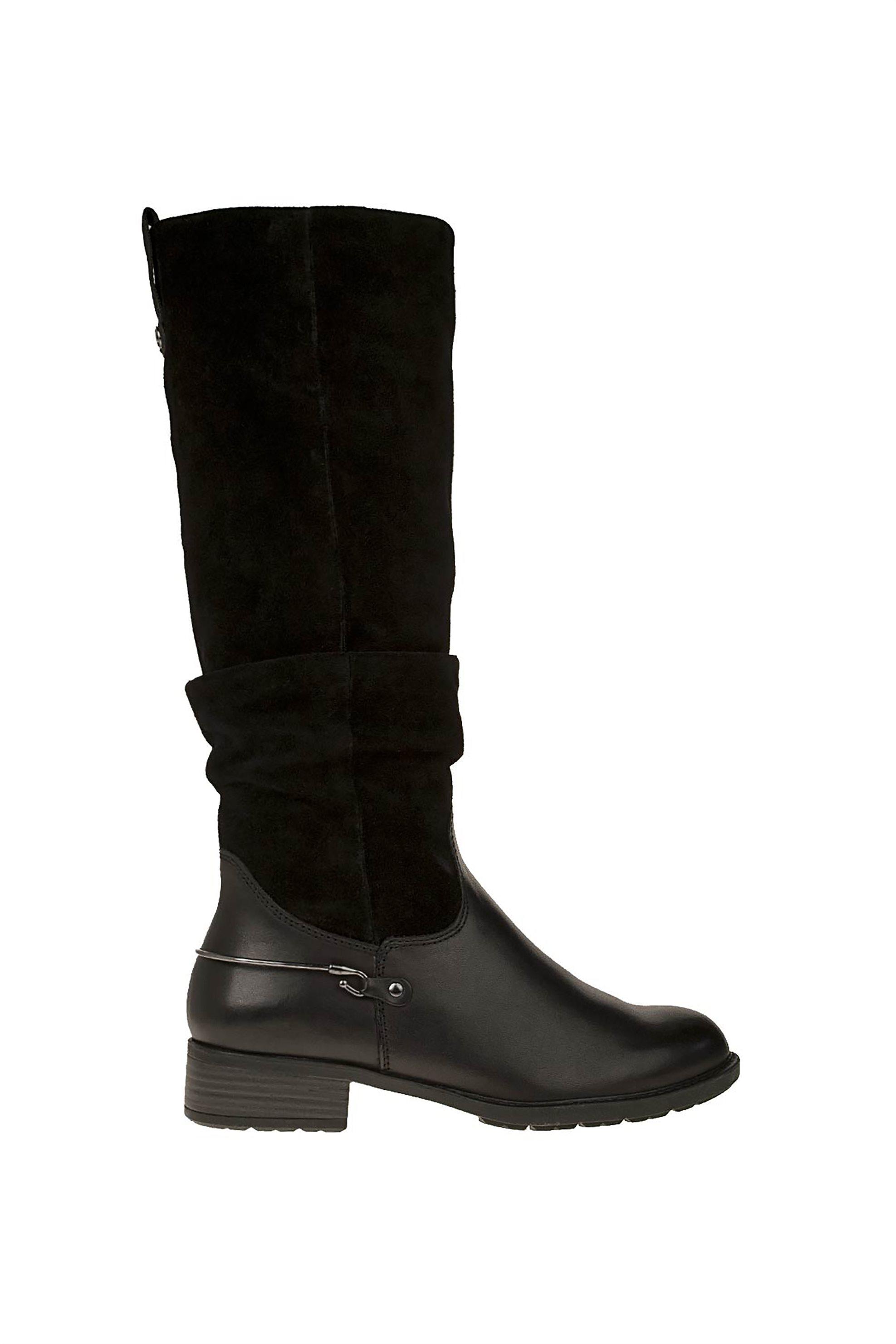 Τamaris γυναικείες δερμάτινες μπότες με suede λεπτομέρειες – 1-1-25526-23 – Μαύρο