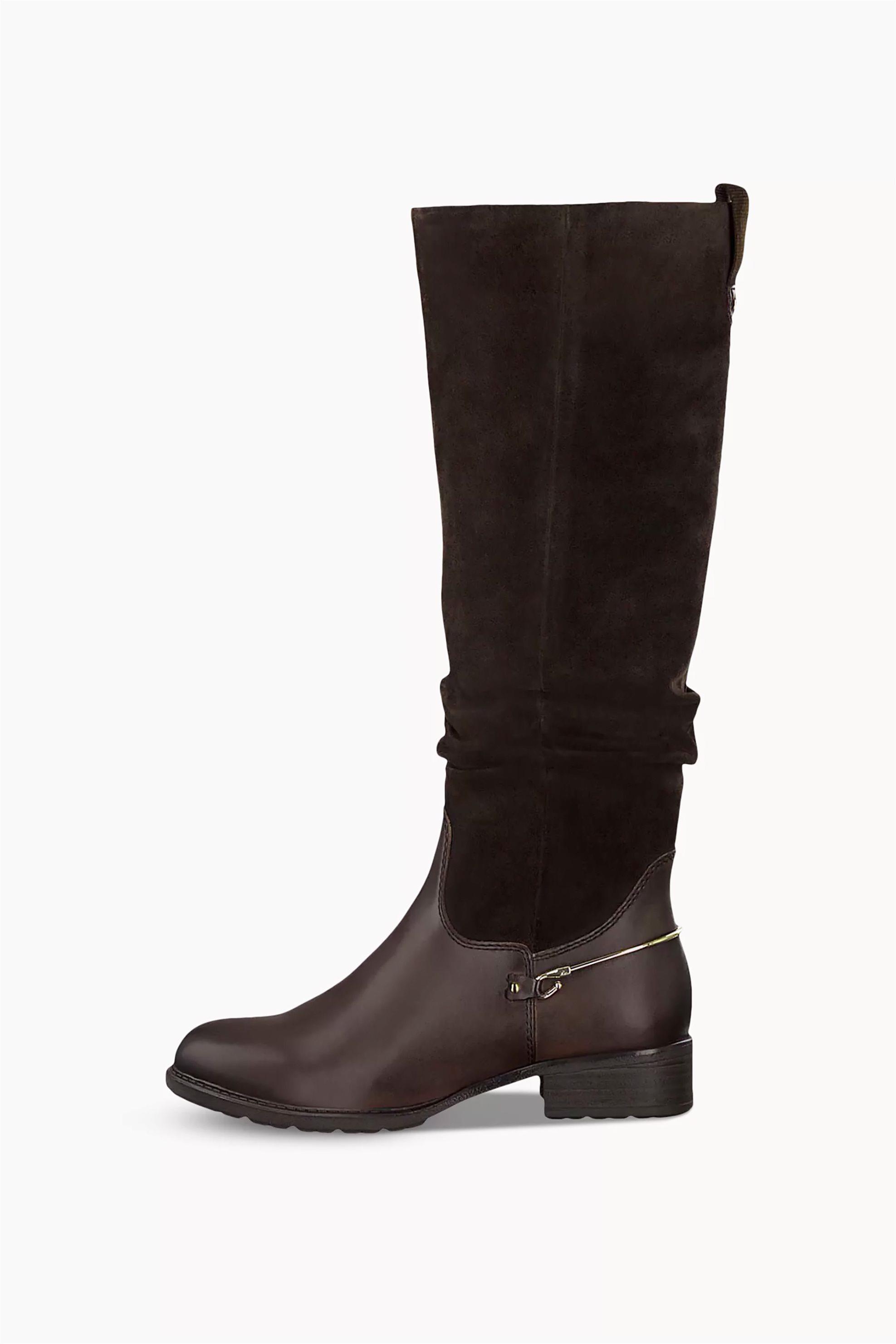 Τamaris γυναικείες δερμάτινες μπότες με suede λεπτομέρειες – 1-1-25526-23 – Καφέ
