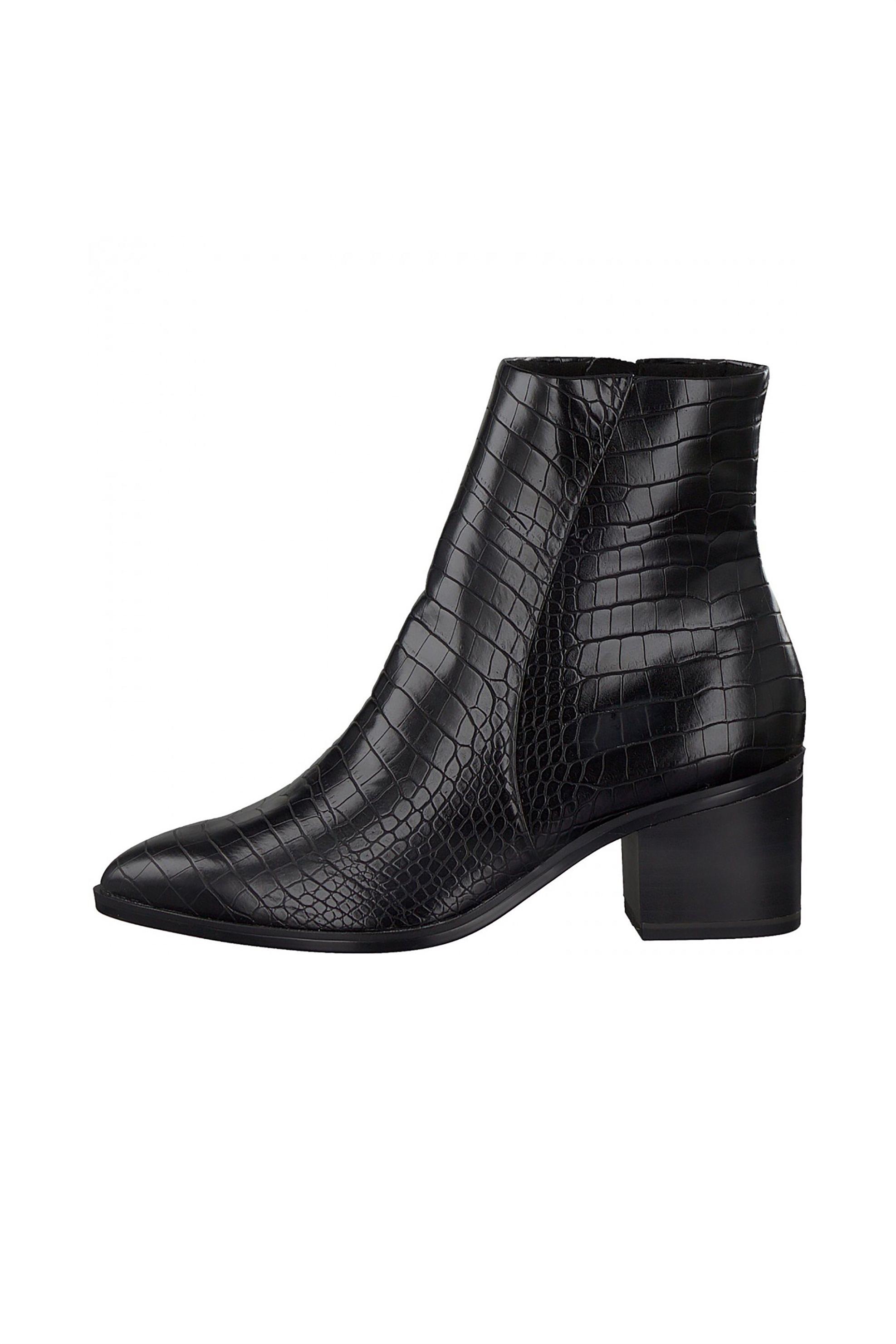 Tamaris γυναικεία croco μποτάκια μονόχρωμα – 1-1-25049-25 – Μαύρο