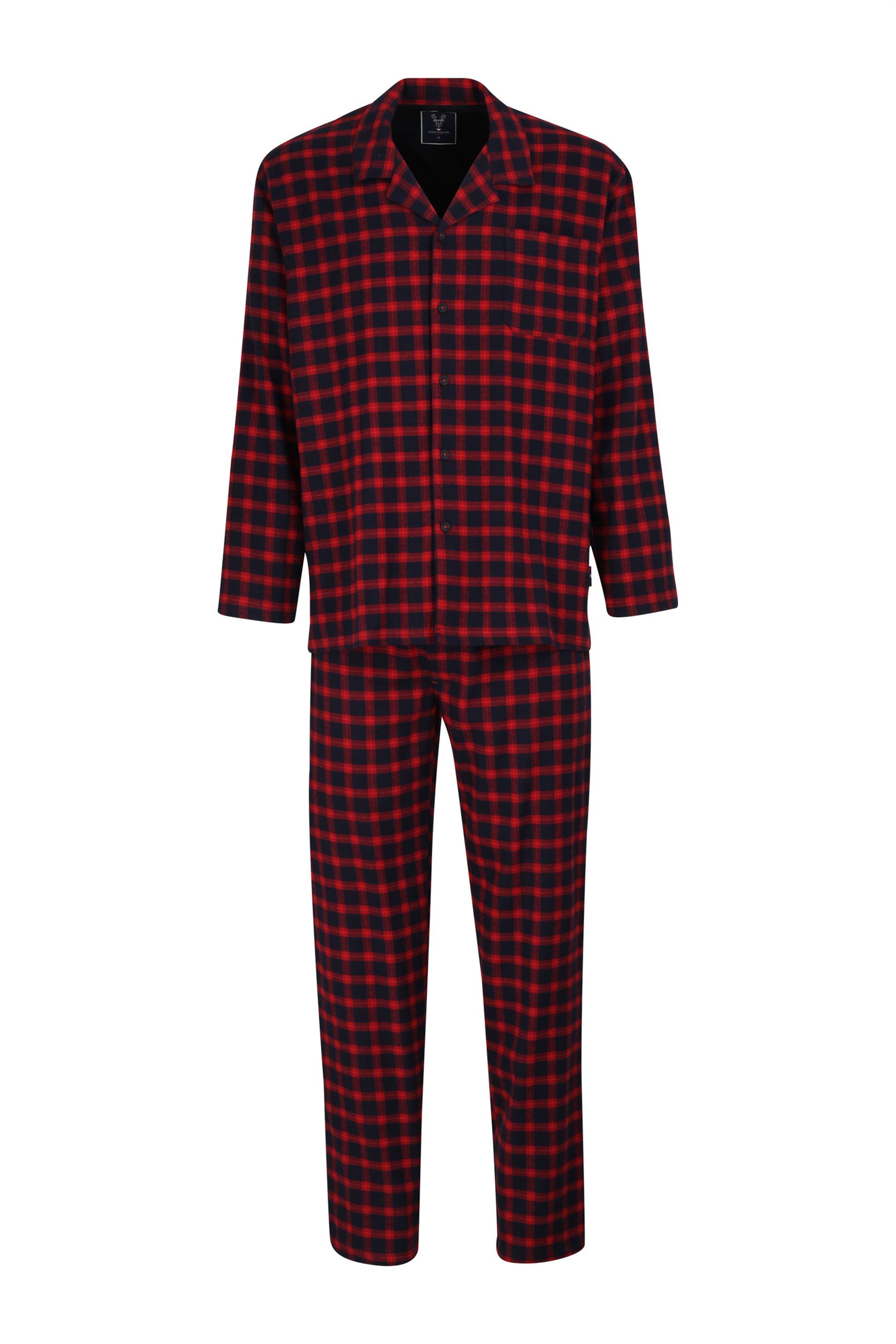Tom Tailor ανδρική καρό πιτζάμα με τσέπη στο στήθος - 71173-48/56 - Κόκκινο