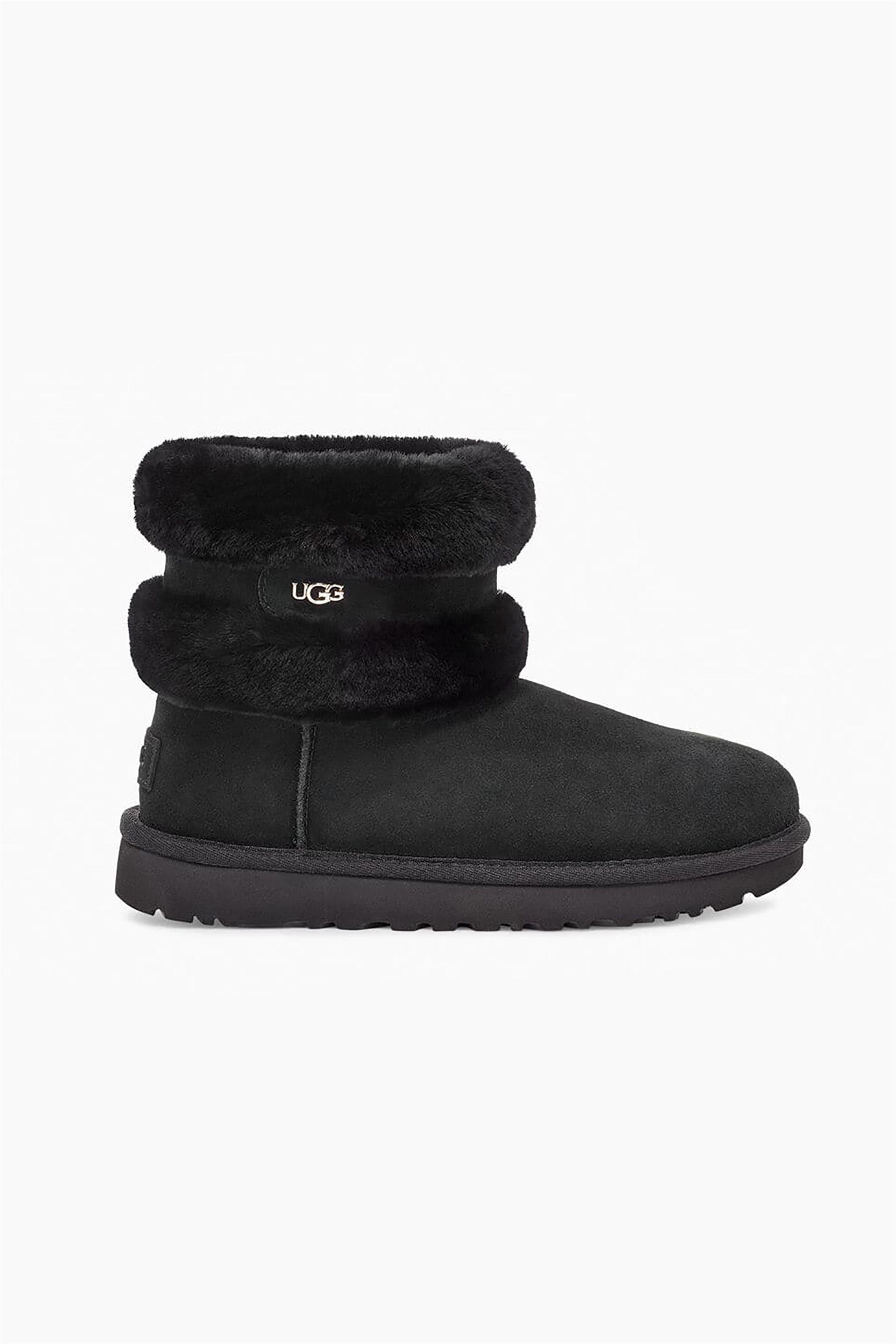 "Ugg γυναικεία μποτάκια με γούνα και μεταλλικό λογότυπο ""Fluff Mini Belted"" – 1112483 – Μαύρο"