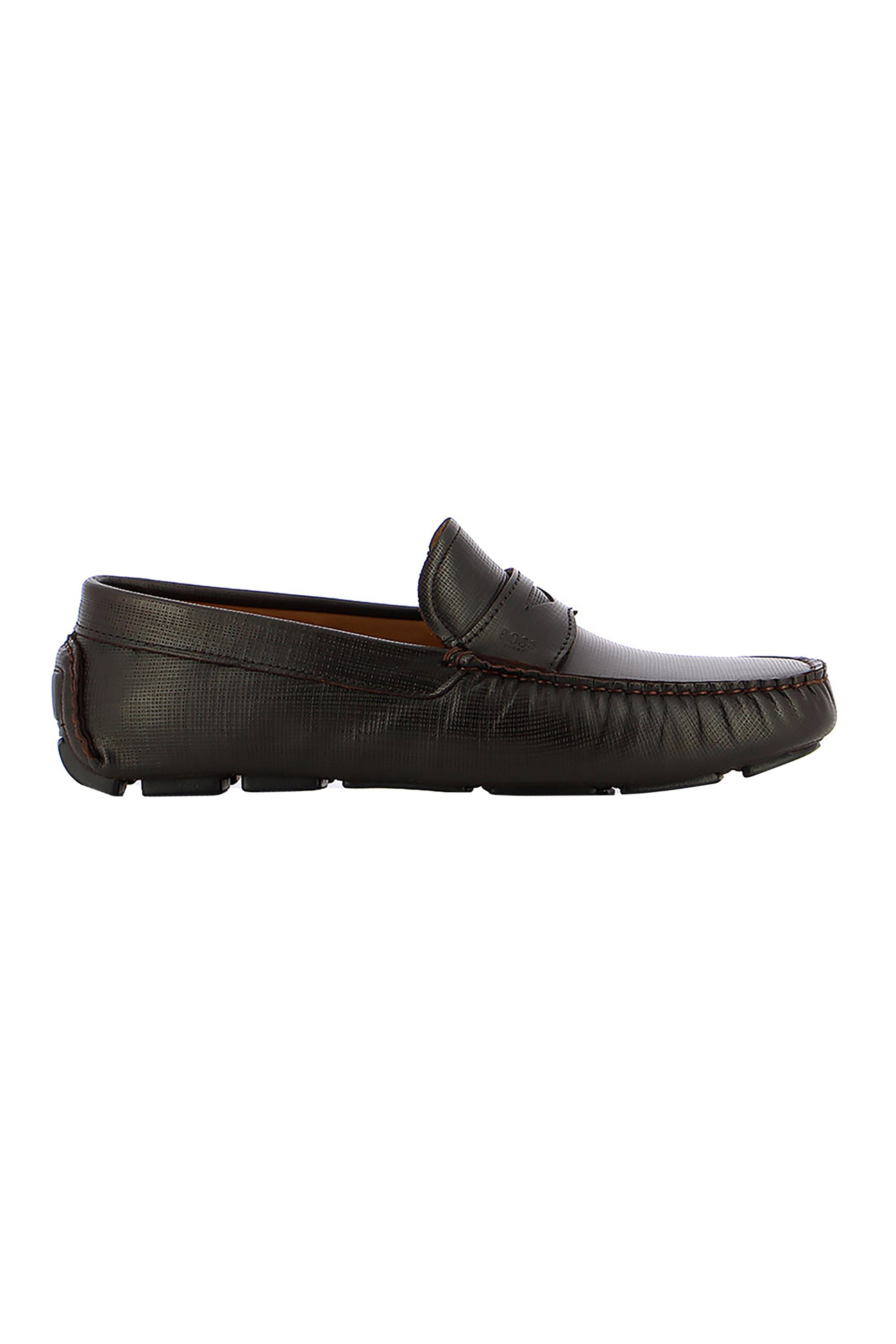 Boss Shoes ανδρικά δερμάτινα μοκασίνια με ανάγλυφο σχέδιο – Q5784 CHAVEZ – Μαύρο