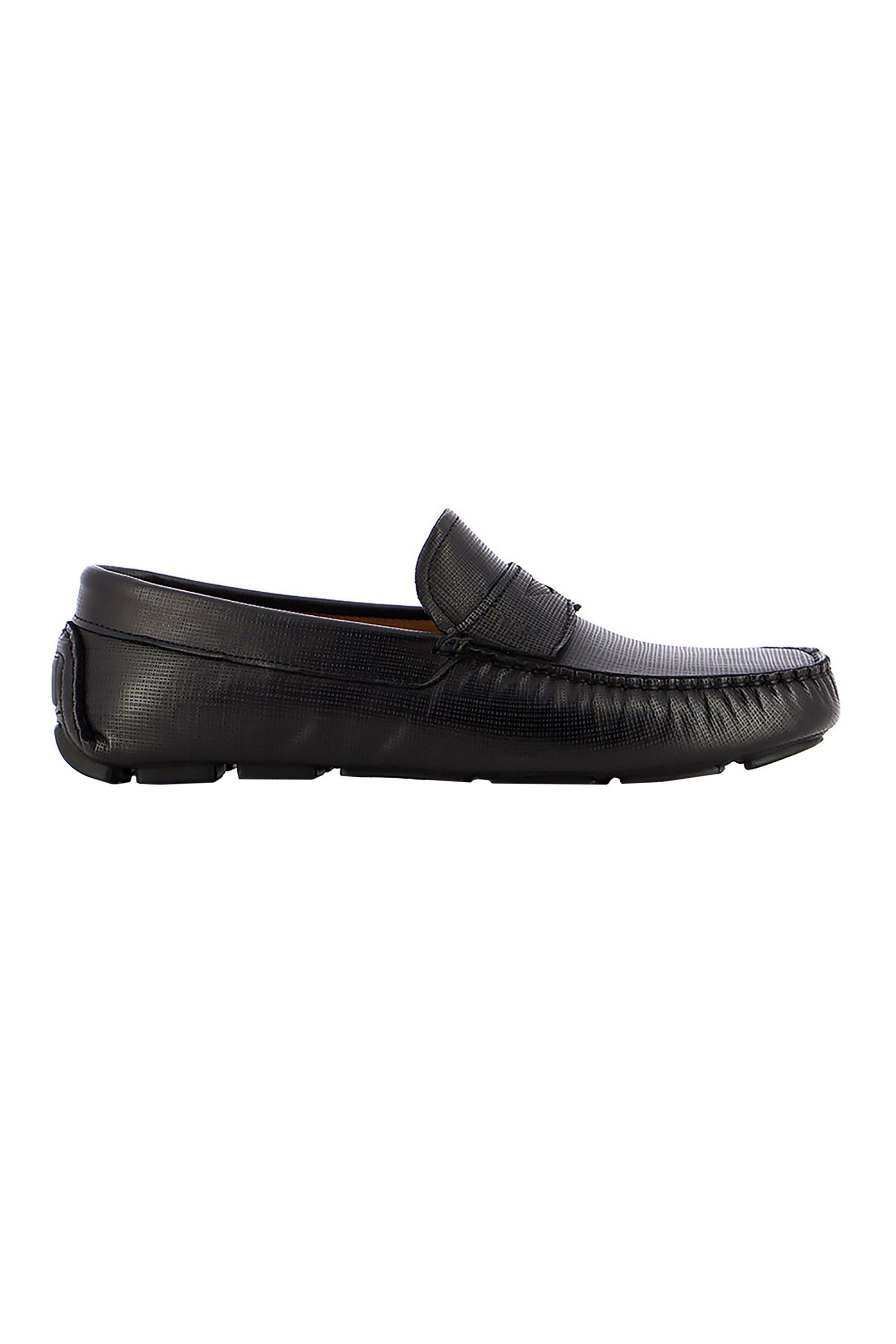 Boss Shoes ανδρικά δερμάτινα μοκασίνια με ανάγλυφο σχέδιο – Q5784 CHAVEZ – Καφέ
