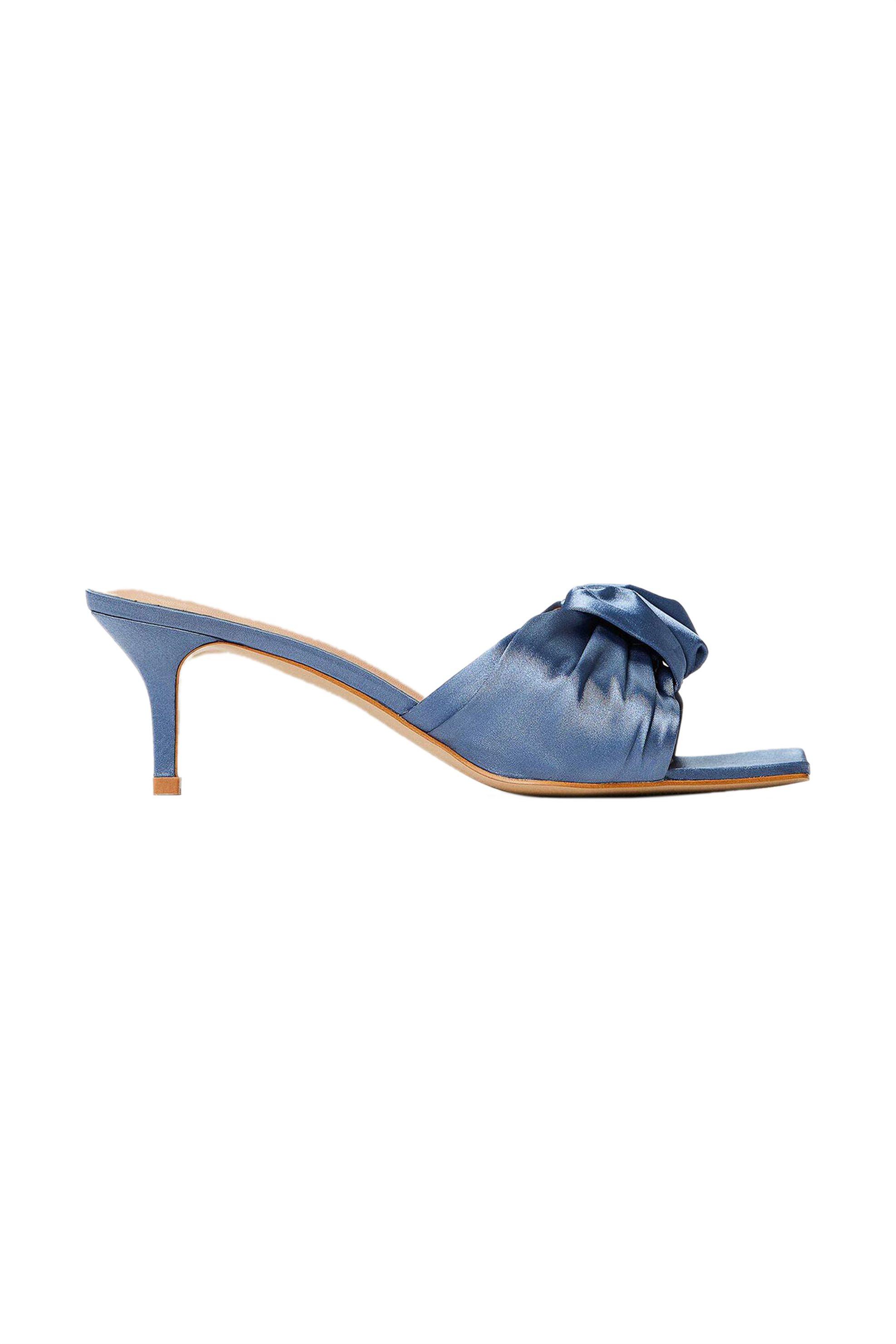 Twinset γυναικεία mules σατινέ με διακοσμητικό δέσιμο – 211TCT114 – Μπλε
