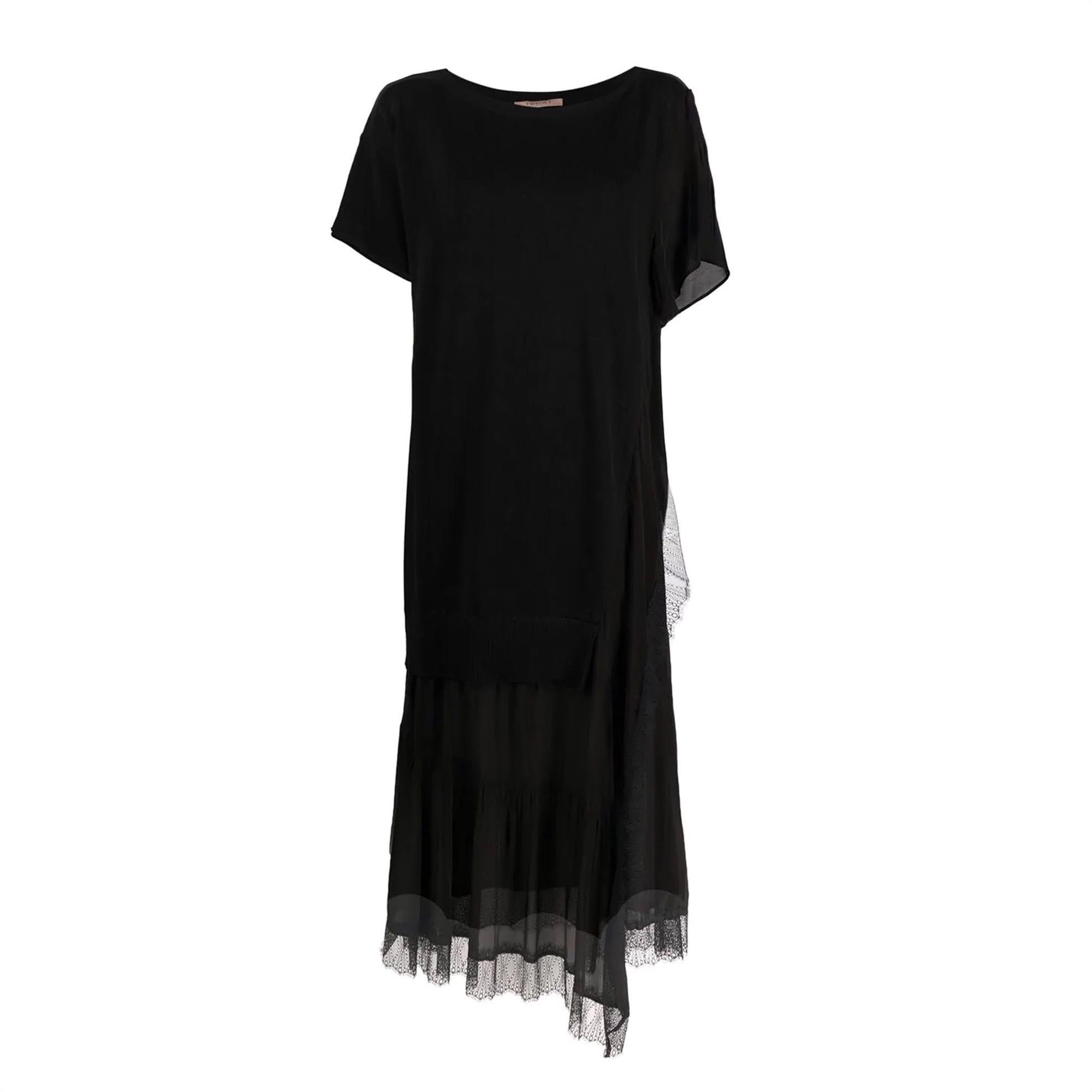 Twinset γυναικείο midi φόρεμα κοντομάνικο με διαφορετικές υφές βολάν και δαντέλα τελείωμα - 211TT3151 - Μαύρο