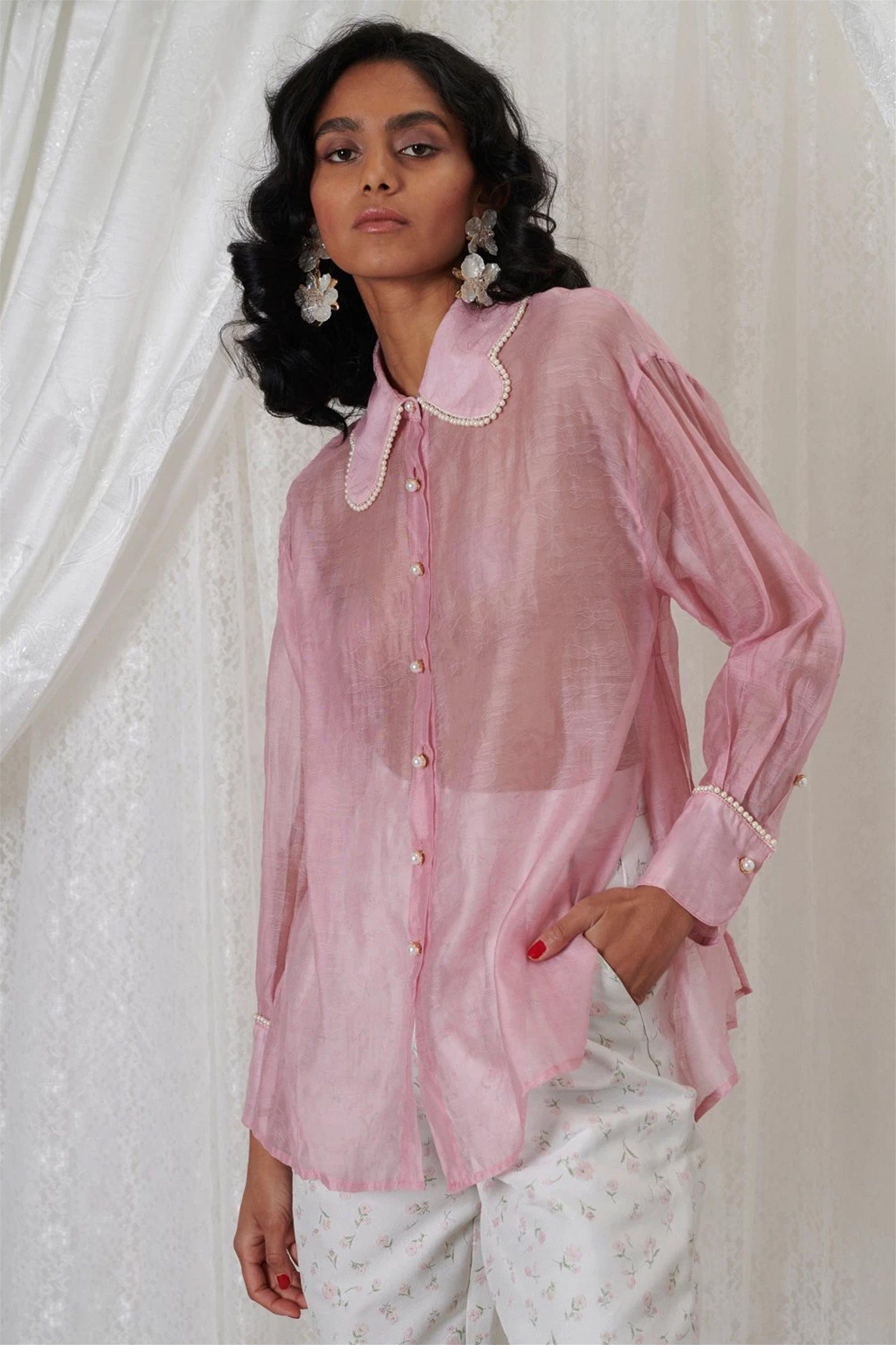 Sister Jane γυναικείο πουκάμισο με ανάγλυφο σχέδιο και πέρλες