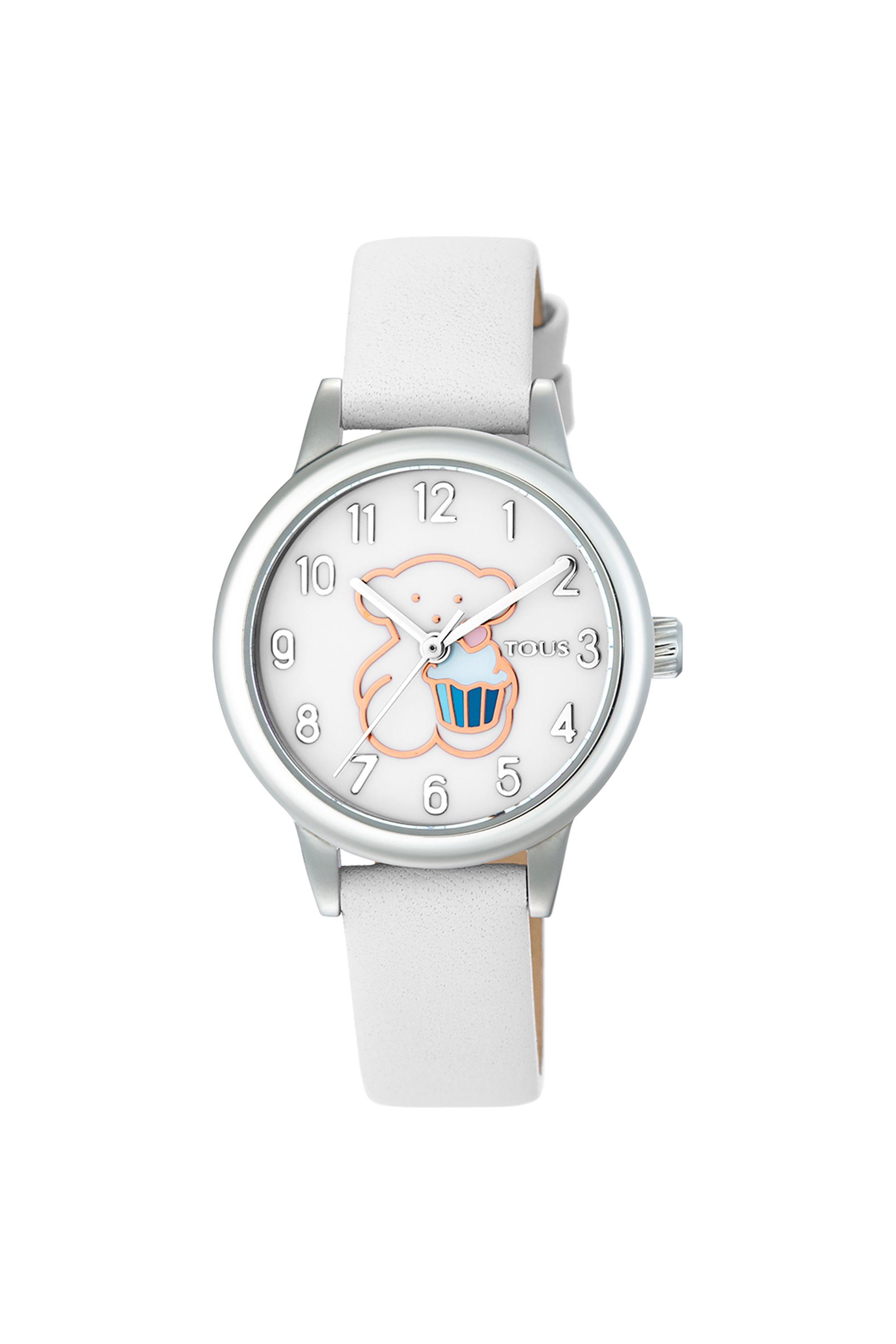 TOUS γυναικείο ρολόι New Muffin από Ατσάλι με λευκό Δερμάτινο λουράκι - 3000086700 - Λευκό