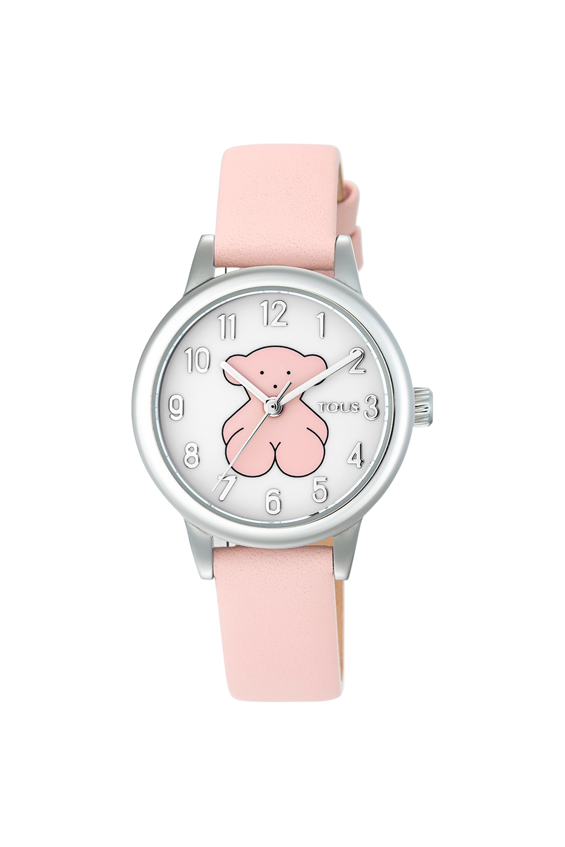 TOUS γυναικείο ρολόι New Muffin από Ατσάλι με ροζ Δερμάτινο λουράκι - 3000086900 - Ροζ