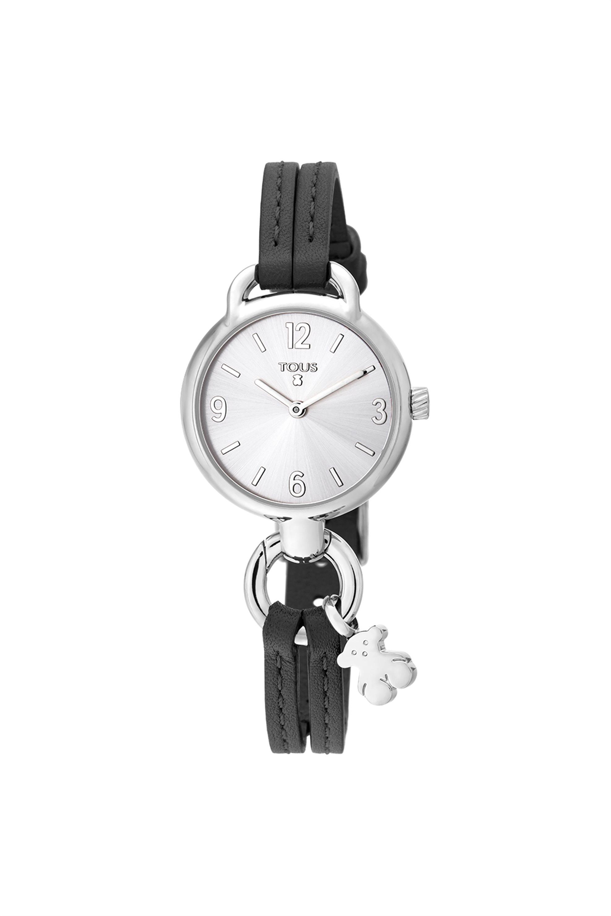 TOUS γυναικείο ρολόι Hold από Ατσάλι με μαύρο Δερμάτινο λουράκι - 3000089700 - Μαύρο