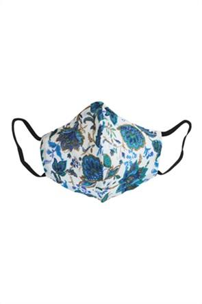 "Synchronia μάσκα προστασίας υφασμάτινη με print ""Βlu Flowers"" (M)"