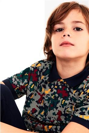 Lacoste παιδική polo μπλούζα πικέ με all-over print
