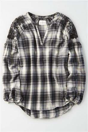 AE Plaid Embroidered Shirt