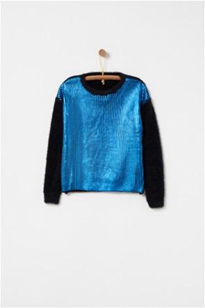 OVS παιδικό πουλόβερ fur effect με διαφορετικό ύφασμα μπροστά