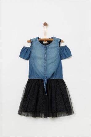 OVS παιδικό φόρεμα denim με τούλι