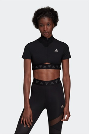 "Adidas γυναικείο αθλητικό μπουστάκι με φερμουάρ ""Hyperglam Crop Zip"""