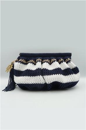 Speira γυναικεία τσάντα clutch χειροποίητη με ριγέ σχέδιο