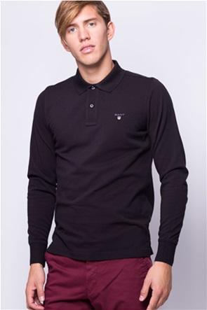 Gant ανδρική πόλο μπλούζα μονόχρωμη με κεντημένο logo