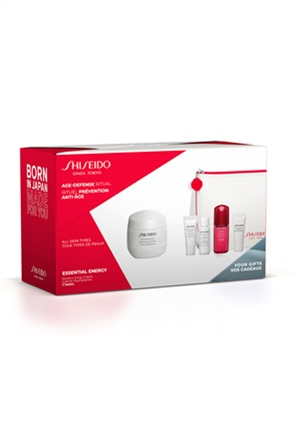 Shiseido Essential Energy Moisturizing Cream Pouch Set 50 ml & Treatment Softener Enriched 7 ml & ULTIMUNE Power Infusing Concentrate 10 ml & ESSENTIAL ENERGY Eye Definer 5 ml