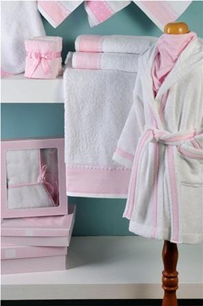 DOWN TOWN Home Παιδικό μπουρνούζι White/Pink (2-4 ετών)
