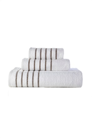 "DOWN TOWN Home σετ πετσέτες μπάνιου ""Border Stripes Beige"" (3 τεμάχια)"