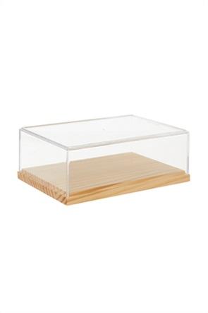 Coincasa κουτί αποθήκευσης από bamboo με διάφανο καπάκι 7 x 14 x 20 cm