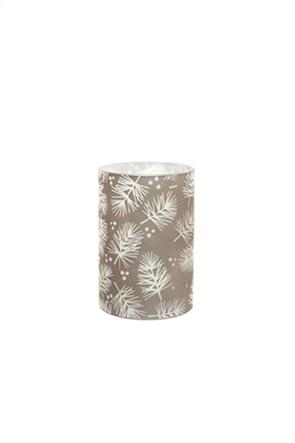Coincasa διακοσμητικό κερί Led με all-over print φύλλα 10 x 15 cm
