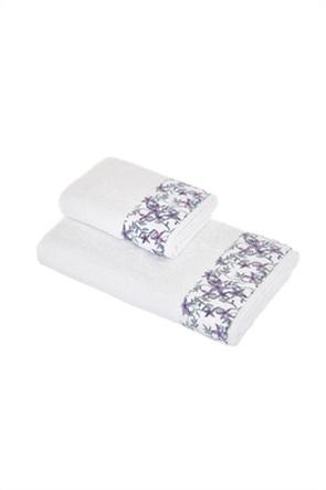 Coincasa βαμβακερή πετσέτα προσώπου με floral φάσα στο τελείωμα 60 x 100 cm