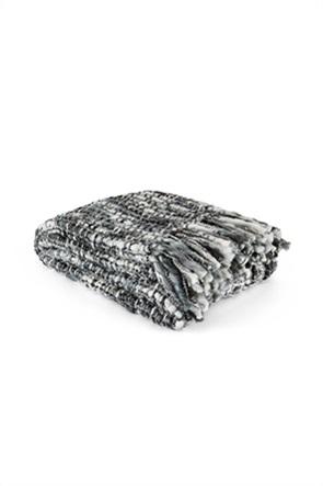 Coincasa κουβέρτα με καρό πλέξιμο και διπλές πλεξούδες 170 x 130 cm