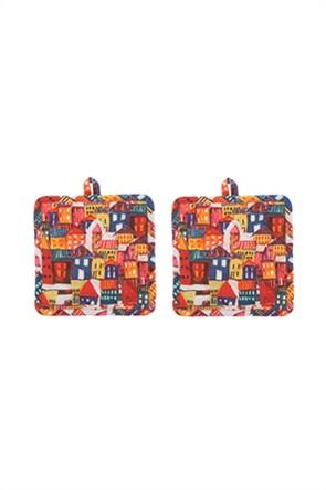 Coincasa σετ πιάστρες κουζίνας με print σπιτάκια 18 x 18 cm
