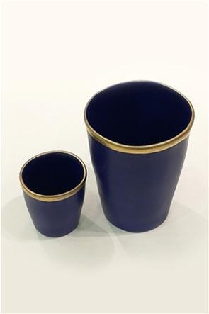 Coincasa διακοσμητικό κεραμικό βάζο με χρυσή λεπτομέρεια 8,5 x 11 cm