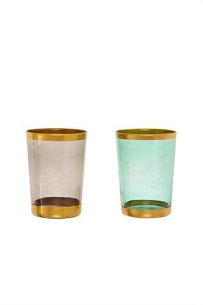Coincasa γυάλινο ποτήρι από χρωματισμένο γυαλί με χρυσή λεπτομέρεια 9 x 12 cm