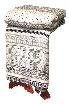 Synchronia χειροποίητο ριχτάρι με print και φούντες 225 x 250 cm