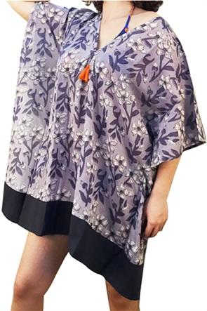 "Synchronia γυναικείο καφτάνι με floral print ""Blaire"""