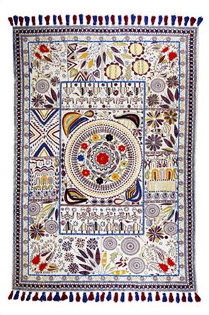 """Synchronia xαλί κεντητό με pom-pon """"Flower Dance"""" 120 x 180 cm"""