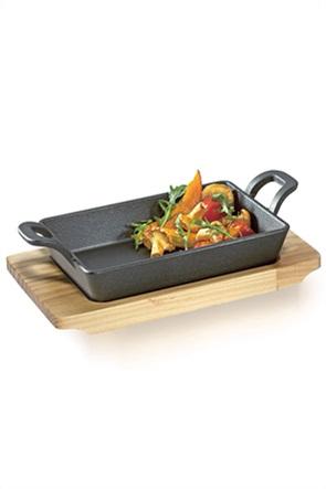 Küchenprofi σετ σκεύος μανταμένιο με ξύλινη βάση σερβιρίσματος 21.5 χ 12.5 χ 6 cm