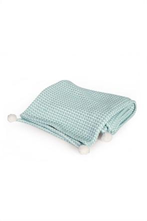 """NEF-NEF βρεφική κουβέρτα κούνιας με pom-pon """"Dog"""" 110 x 150 cm"""