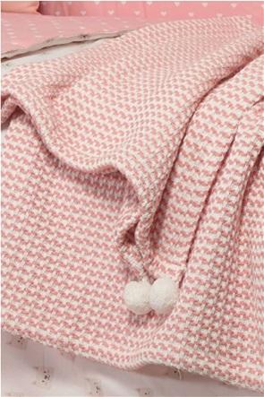 "NEF-NEF βρεφική κουβέρτα κούνιας με pom-pon ""Cat"" 110 x 150 cm"
