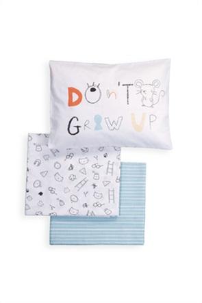 NEF-NEF σετ βρεφικά σεντόνια κούνιας με all-over print ''Don't grow up'' (3 τεμάχια)