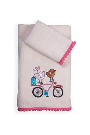 NEF-NEF σετ παιδικές πετσέτες με κεντημένο σχέδιο και pom-pon στο τελείωμα ''Happy City'' (2 τεμάχια)