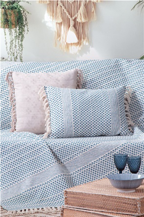 NEF-NEF ριχτάρι διθέσιου καναπέ με ανάγλυφο σχέδιο και κρόσσια στο τελείωμα ''Storm'' 180 χ 250 cm