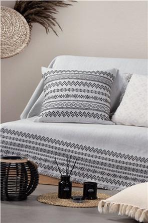 NEF-NEF ριχτάρι διθέσιου καναπέ με γεωμετρικά σχέδια και διακοσμητικά ξέφτια ''Αrabi'' 170 χ 250 cm