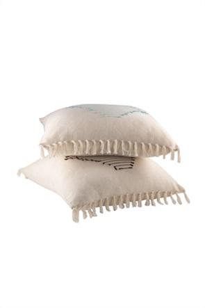 NEF-NEF διακοσμητικό μαξιλάρι με κεντημένο σχέδιο και διακοσμητικά κρόσσια ''Alexia''