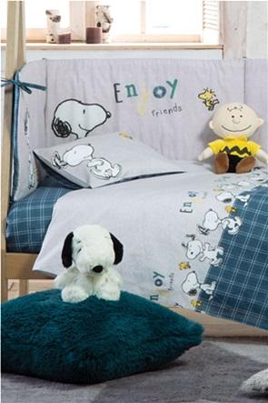 "NEF-NEF σετ βρεφικά σεντόνια κούνιας με καρό σχέδιο και print ""Snoopy Enjoy"" (3 τεμάχια)"