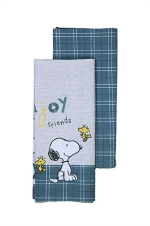 "NEF-NEF σετ βρεφικά σεντόνια λίκνου με καρό σχέδιο και print ""Snoopy Enjoy"" (2 τεμάχια)"