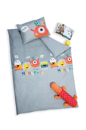 "NEF-NEF σετ παιδική παπλωματοθήκη μονή με graphic print ""Hello Monsters"" (2 τεμάχια)"