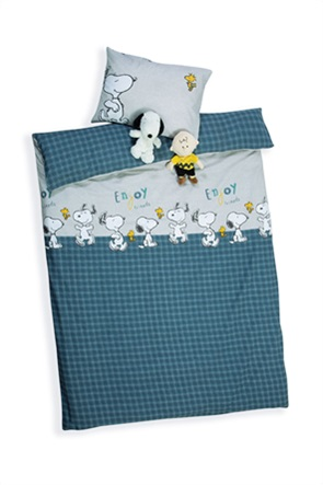 "NEF-NEF σετ παιδική παπλωματοθήκη μονή με καρό σχέδιο και print ""Snoopy Enjoy"" (2 τεμάχια)"