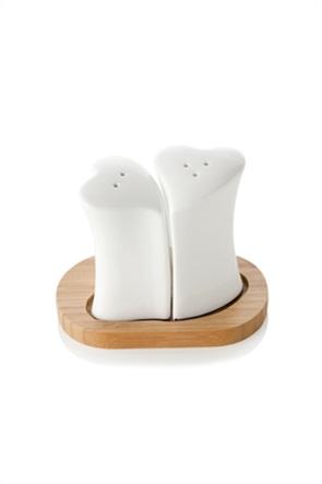 Brandani σετ αλατοπίπερο σε σχήμα καρδιάς με ξύλινη βάση 13,5 x 8 x 9,5 cm
