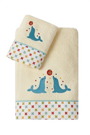 """Kentia σετ παιδικές πετσέτες με κεντημένο σχέδιο φώκια """"Nico"""" (2 τεμάχια)"""